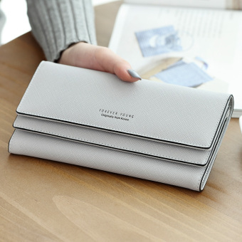 Ulzzang cool solid color female large capacity wallet long wallet (Gray)