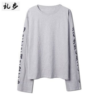 Ulzzang GOTHIQUE style lettered mid-length T-shirt (16011 long-sleeved t gray)