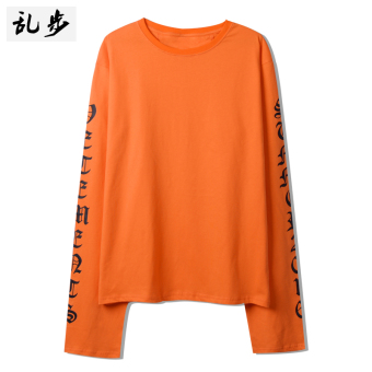 Ulzzang GOTHIQUE style lettered mid-length T-shirt (16011 long-sleeved t orange)