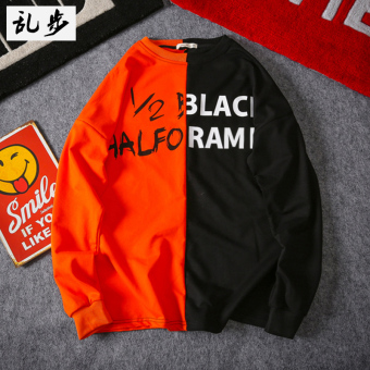 Ulzzang hip hop contrasting color long-sleeved men and women T-shirt (629 stitching hoodie black spell orange)