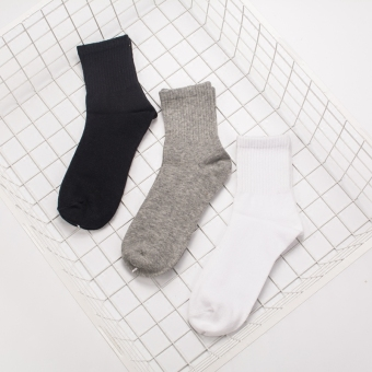Ulzzang Japanese-style cotton black and white men and women couple's socks tube socks (Gray)