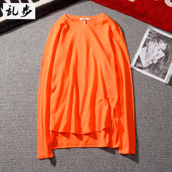 Ulzzang Japanese-style Feng Yuan collar solid color long-sleeved t-shirt (CT019 long-sleeved orange)