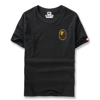 Ulzzang Japanese-style style Teenager student ape head T-shirt (Men in Black)