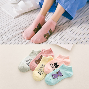 Ulzzang Korean-style cat thin spring and summer women's Socks (921 candy color cat short socks) (921 candy color cat short socks)