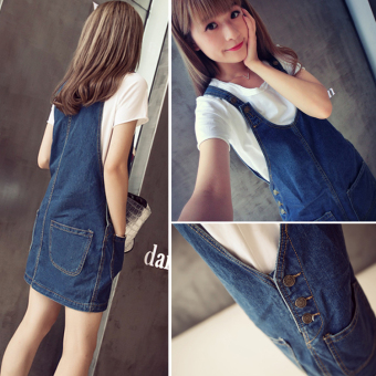Ulzzang Korean-style cowboy autumn and winter New style shoulder strap dress
