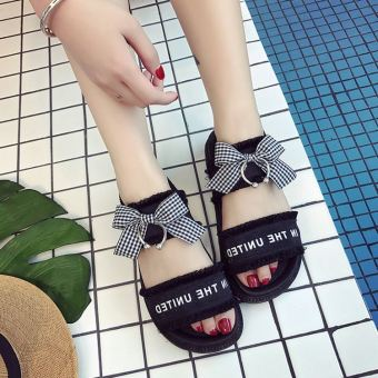 Ulzzang Korean-style female Flat Bow student's shoes sandals (Black)