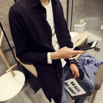 Ulzzang Korean-style linen men mid-length shirt long-sleeved shirt (Black)