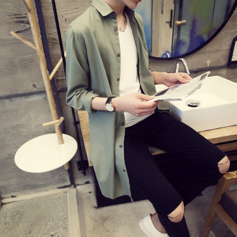 Ulzzang Korean-style linen men mid-length shirt long-sleeved shirt (Dark green color)