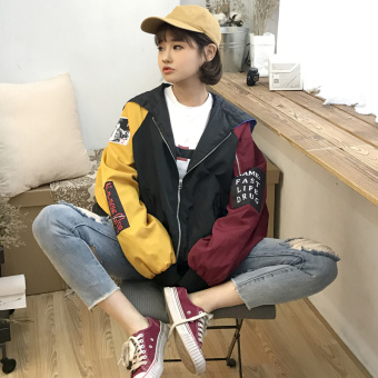 Ulzzang Korean version of contrasting color hooded jacket cardigan