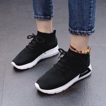 Ulzzang Korean version of female lace flat running shoes sports shoes (Black)