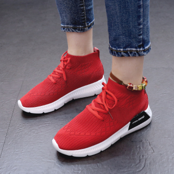 Ulzzang Korean version of female lace flat running shoes sports shoes (Red)