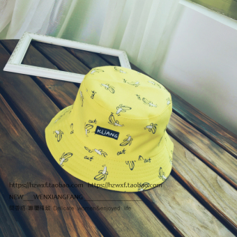 Ulzzang Korean version of summer men and women sun hat bucket hat (Double-sided banana-yellow)