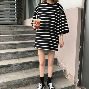 Ulzzang new mid-length Striped short sleeved Top (White)