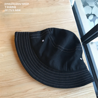 Ulzzang retro solid color men and women summer sun hat fisherman hat (Black)
