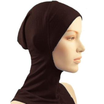 Under Scarf Hat Muslim woman Hijab Islamic Head Wear Neck Cover Coffee - intl