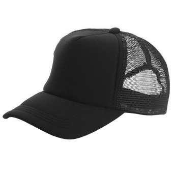 Unisex Adjustable Casual Sport Baseball Breathable Blank Mesh Sun Protection Trucker Hat Peaked Hat Cap Black (Intl)