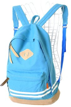 Unisex Casual Canvas School Bag Travel Backpack Blue - picture 2