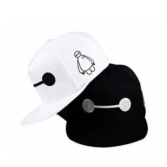 Unisex Fashion Baseball Cap Sports Golf Snapback Solid Hat ForMen/Women (Baymax-Black/White) Set of 2