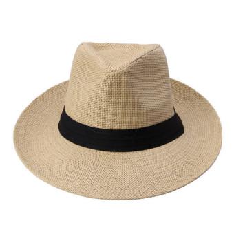 Unisex Fedora Trilby Large Brim Beach Straw Hats Beige (turn up)