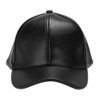 Unisex Leather Baseball Cap Outdoor Sport Adjustable Hat (Black) -intl