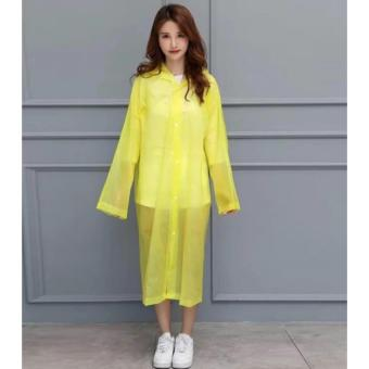Unisex Waterproof PVC Raincoat Rain Coat Hooded (Yellow)