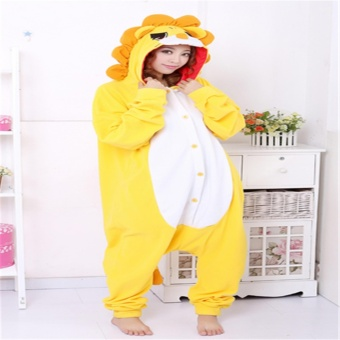 Unisex Women Men Adult Cosplay Costume lovely Lion Animal Sleepsuit Flannel Pajamas Winter Warm Sleepwear Costume - intl