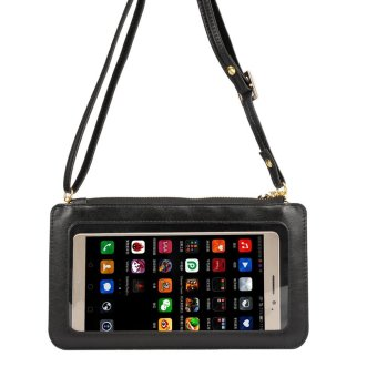 Universal View Window Touch Screen Leather Crossbody Wallet PursePhone Pouch Bag, Size: 20 x 11.5cm - Black - intl Price Philippines