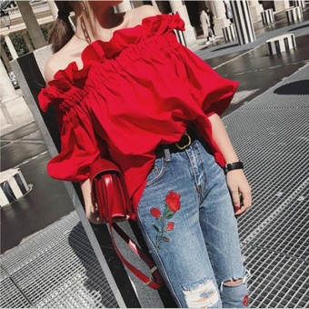 UR One word shoulder shirt coat dress Red - intl