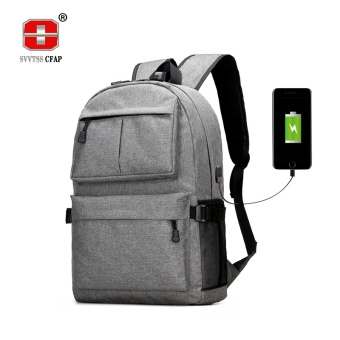 Usb Laptop Backpack Women Canvas Large Capacity Schoolbags Student Book Bags Boys College Men School Bags for Teenagers Girls-grey - intl