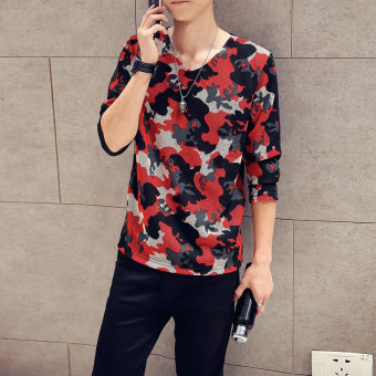 V-neck camouflage long-sleeved men's T-shirt Korean-style small shirt (Red) (Red)