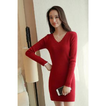 V-Neck Longsleeve Bodycon Ribbed Dress (Red) Casual Dress PartyDress Formal Dress - 2