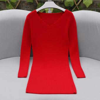 V-Neck Longsleeve Bodycon Ribbed Dress (Red) Casual Dress PartyDress Formal Dress - 5
