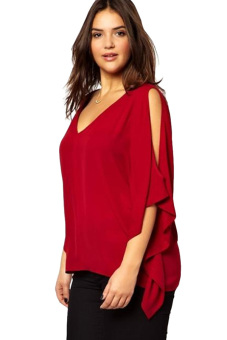 V-Neck Plus Size Batwing Sleeve Blouse Chiffon T-Shirt Top (Red)