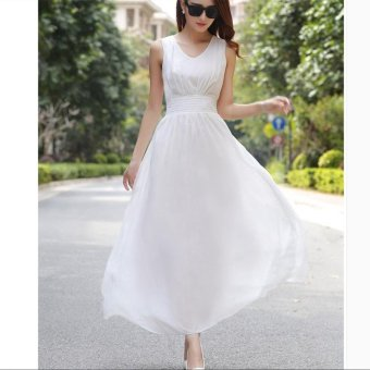 V-neck Sleeveless Bohemian Chiffon Long Dress Beach Dress White - intl