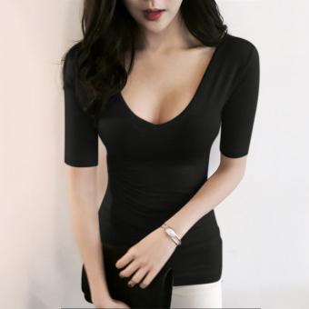 V-neck slim fit nude color Top qiuyi (Black)