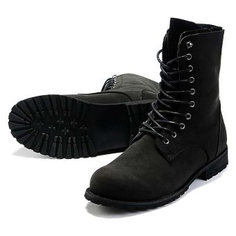 Vanker Fashionable Winter Men's Retro Punk England-style High-top Combat Boots Shoes (black) - 3