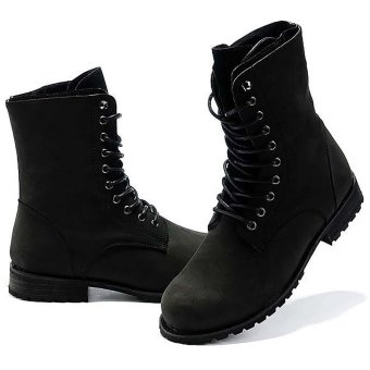 Vanker Fashionable Winter Men's Retro Punk England-style High-top Combat Boots Shoes (black) - 4
