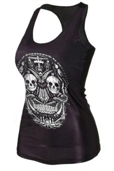 Velishy Cross Skull Printed Tank Top (Black)