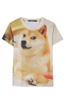 Velishy Dog Printed T-Shirt (White)