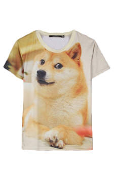 Velishy Dog Printed T-Shirt (White/Brown)