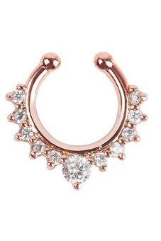 Velishy Nose Ring Fake Septum Clicker Non Piercing Rose Gold