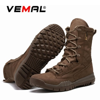 VEMAL Men's Desert Boots & Jungle Boots for Men-Lightweight Lace UpMicrofiber/Suede Leather Combat Boots Outdoor Military Boots-Tactical Boots Brown - intl