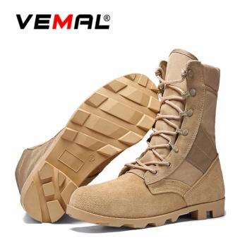 VEMAL Tactical Men's Military Tactical Boots Men Outdoor Combat Army Boots Climb On The Special Tactical Boots Khaki - intl