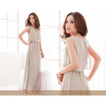 VENFLON Women Summer Chiffon Boho Pleated Beach Maxi Dress Sleeveless Elastic Bohemia Long Dress (Light grey) - intl - 5