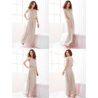 VENFLON Women Summer Chiffon Boho Pleated Beach Maxi Dress Sleeveless Elastic Bohemia Long Dress (Light grey) - intl - 3