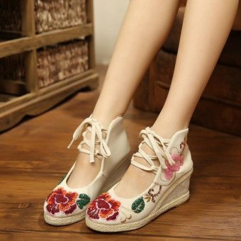 Veowalk Flower Embroidered Asian Women Casual Canvas 5cm Mid Heels Wedges Platforms Lace up Ladies Cotton Pump Shoes Beige - intl