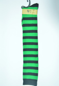 Versatile blue and white female striped knee socks striped socks (Black and green thick striped [long 66cm])
