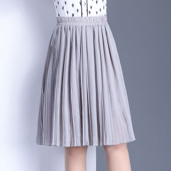 Versatile chiffon spring and summer New style pleated skirts (Light gray color)