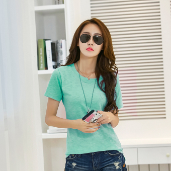 Versatile cotton solid color today T-shirt (Green)