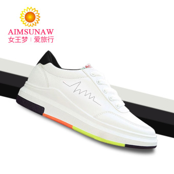 Versatile female autumn New style sports shoes white shoes (Women's + Black and white)
